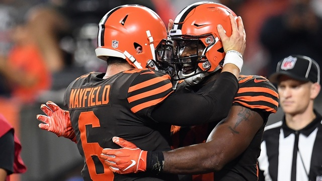 CLEVELAND%2C+OH+-+SEPTEMBER+20%3A++Carlos+Hyde+%2334+celebrates+his+touchdown+with+Baker+Mayfield+%236+of+the+Cleveland+Browns+during+the+fourth+quarter+against+the+New+York+Jets+at+FirstEnergy+Stadium+on+September+20%2C+2018+in+Cleveland%2C+Ohio.+%28Photo+by+Jason+Miller%2FGetty+Images%29
