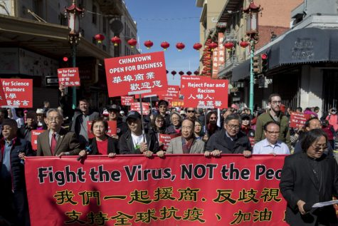 SAN FRANCISCO CA - FEBRUARY 29: Hundreds of Chinatown residents along with local and state officials take to the streets protest against racism against the Chinese community during a march down Grant Avenue from Chinatown